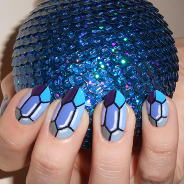 Blue Gemstone nail art by MyMintNails