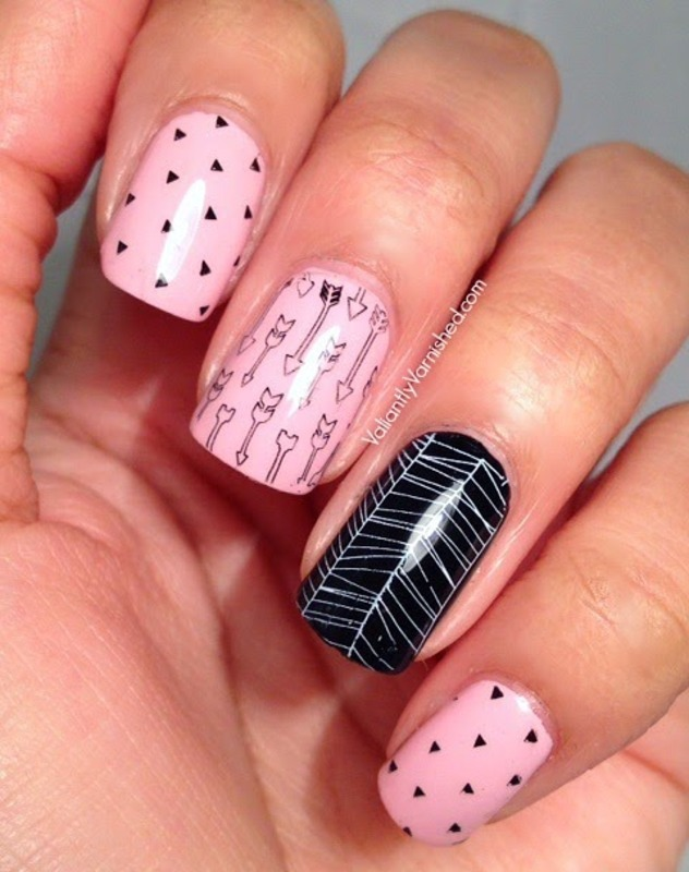 Pink and Black Arrow Skittle Nail Art nail art by Valiantly Varnished