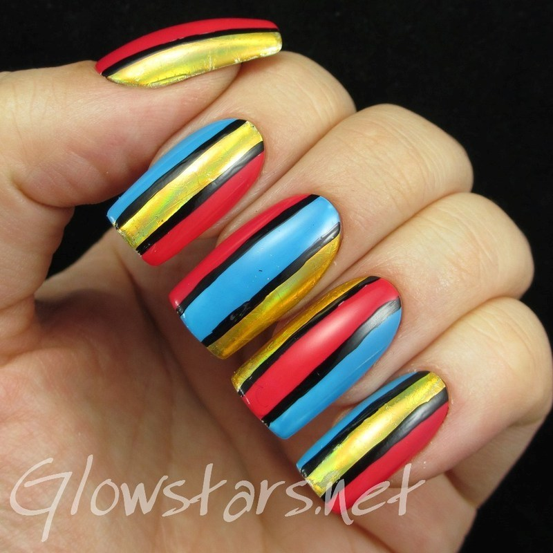 Colour blocking and foils nail art by Vic 'Glowstars' Pires