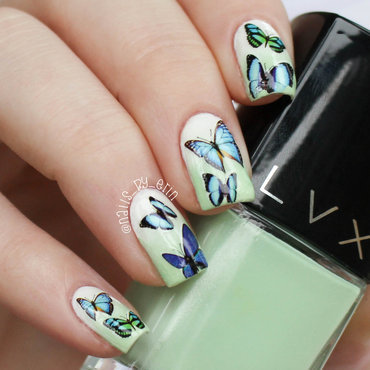 Mint Gradient and Butterfly Water Decal Nails nail art by Erin