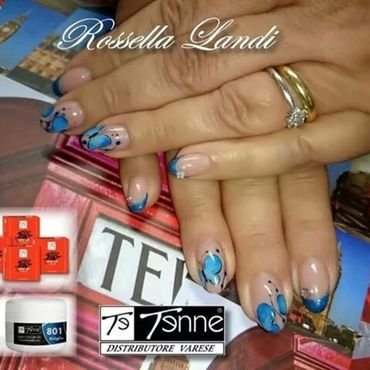Blue Butterfly nail art by Rossella Landi