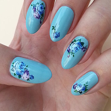 Water Decals In Blue nail art by Mgielka M
