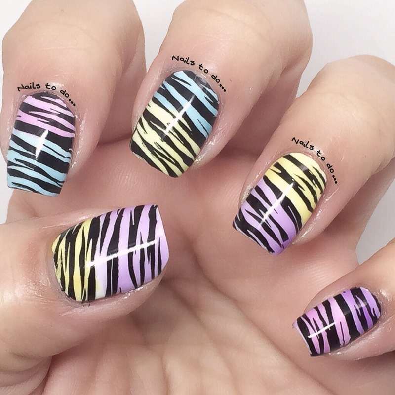 Colorful zebra nail art by Jenny Hernandez