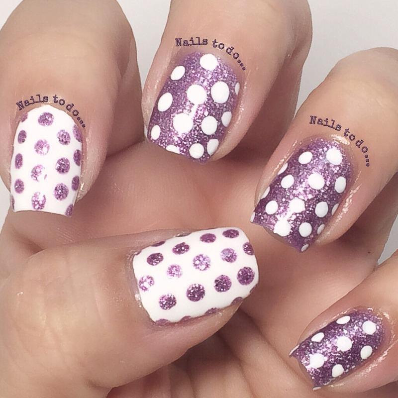 Spotty glitter nail art by Jenny Hernandez