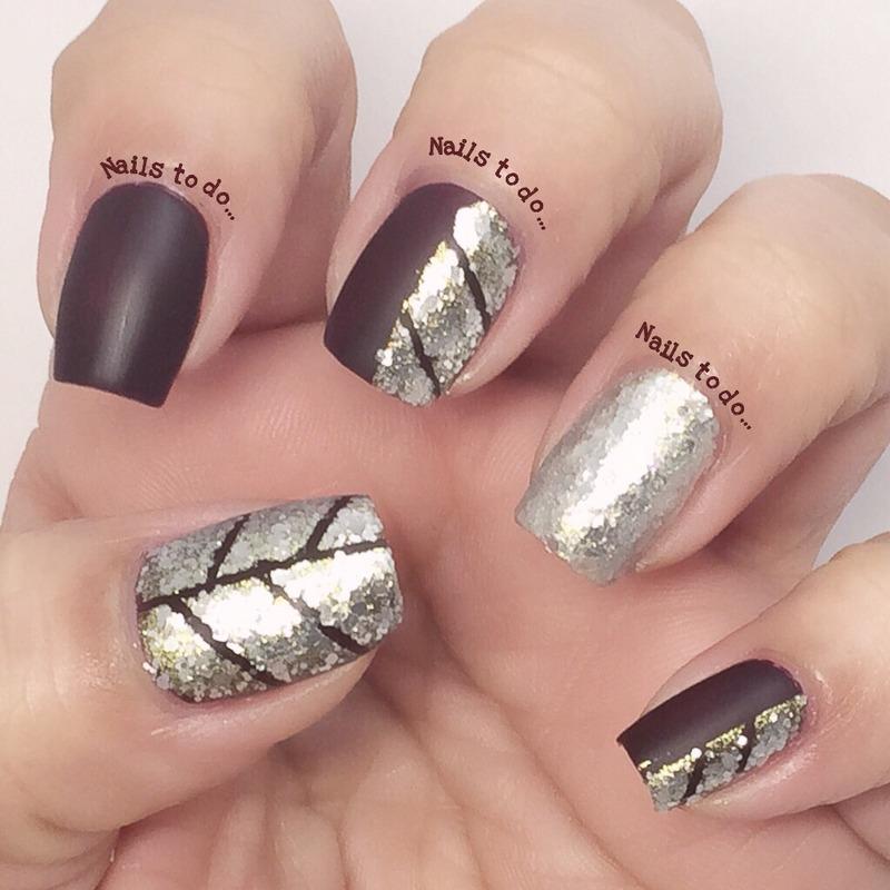 Silver flakies nail art by Jenny Hernandez