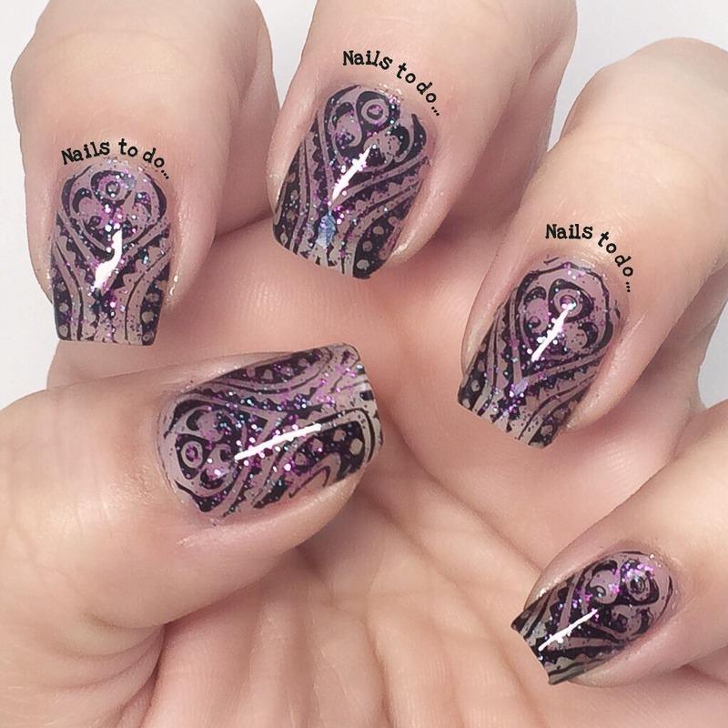Glittery stamping nail art by Jenny Hernandez