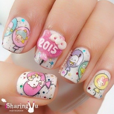 🎈🎈 Happy 2015 🎈🎈 nail art by SharingVu
