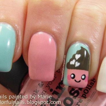 Kawaii Cupcake Nail Art nail art by Marie