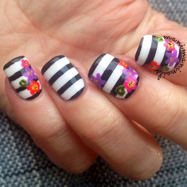 Stripes and flowers nail art by manimaninails