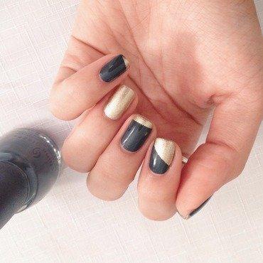 Charcoal + Gold Color Blocking nail art by Jenn Thai
