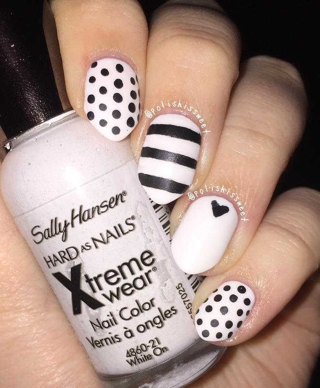 Matte Black & White Nails! nail art by PolishIsSweet