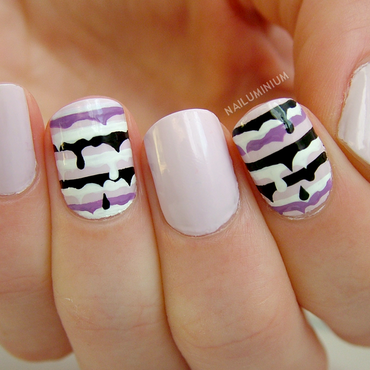 Melting Stripes nail art by Margee C.
