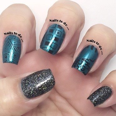 Pretty in teal nail art by Jenny Hernandez
