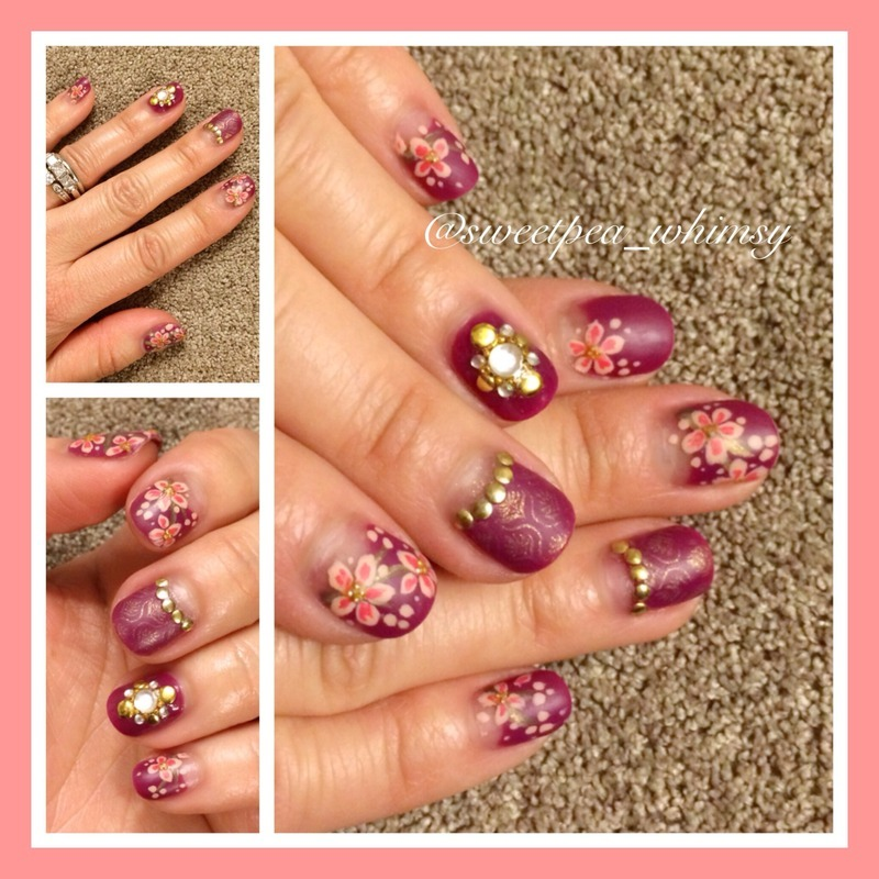 Plum Wine & Cherry Blossoms nail art by SweetPea_Whimsy