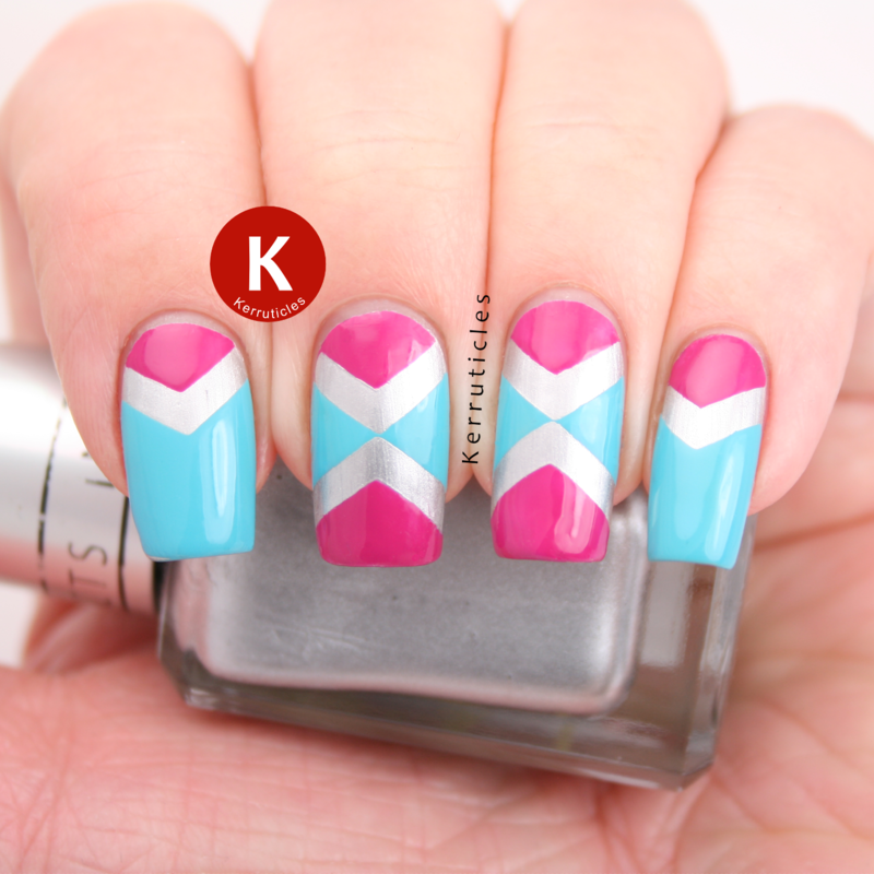 Pink, silver and aqua chevrons design nail art by Claire Kerr