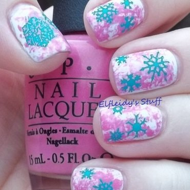 Saran wrap with snowflakes nail art by Jenette Maitland-Tomblin