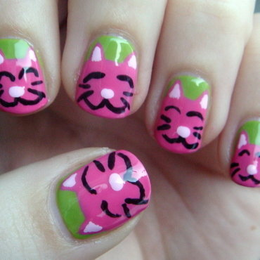 Birthday Kitties! nail art by Elin The Cupcake Cat
