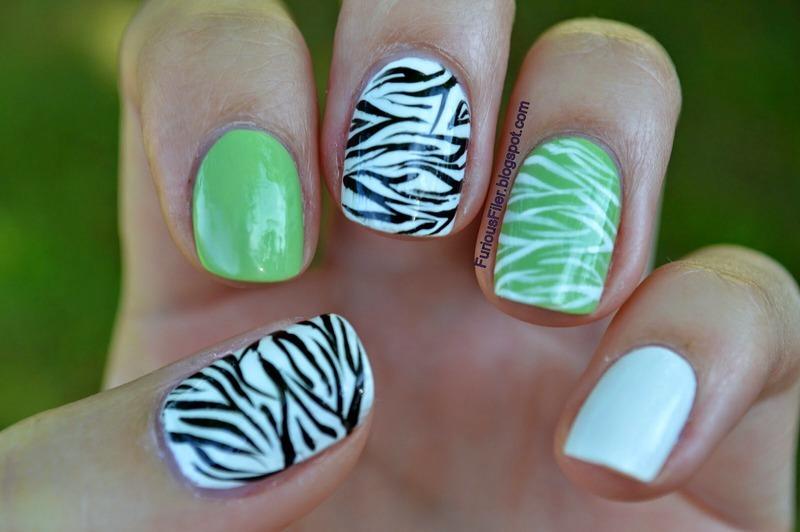 Summer zebra pattern nail art by Furious Filer