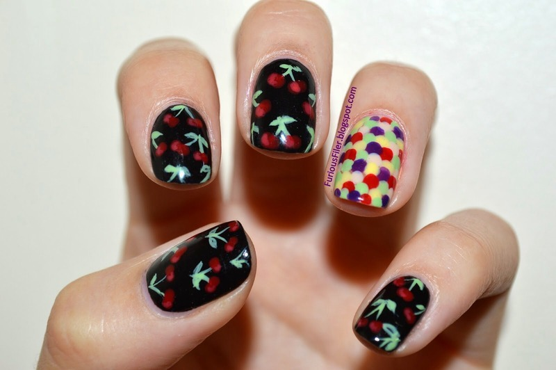 Retro cherries nail art by Furious Filer