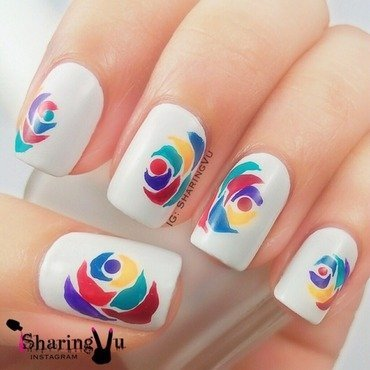 Multicolour Petal nail art by SharingVu