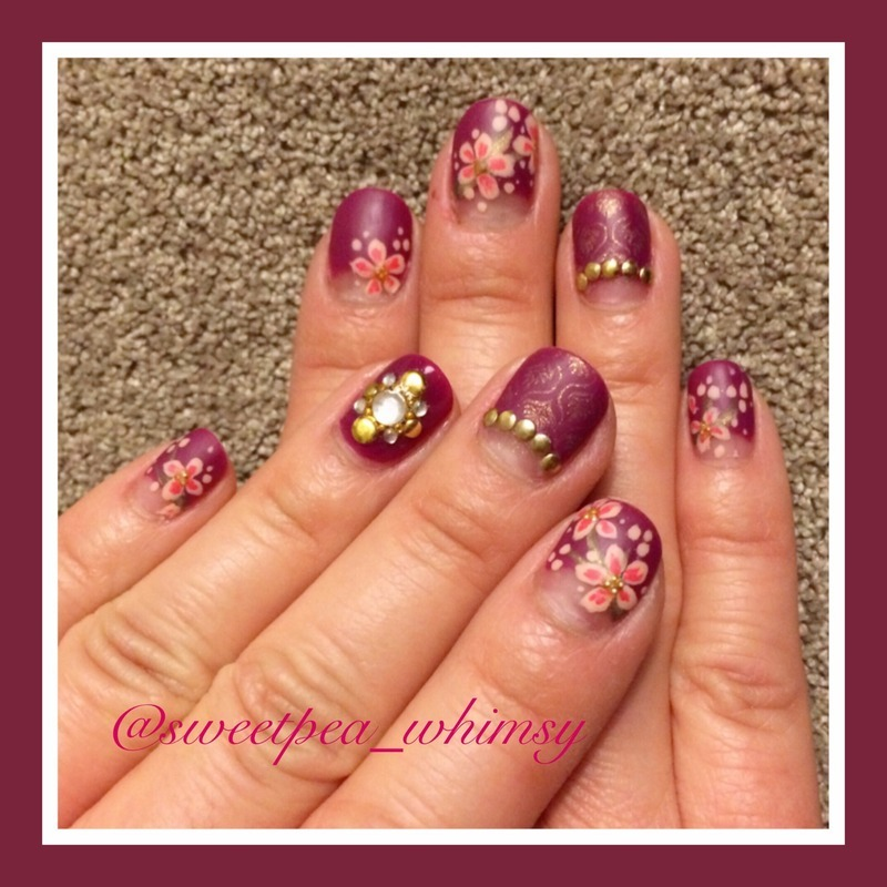 Plum Wine & Cherry Blossoms (Close Up) nail art by SweetPea_Whimsy