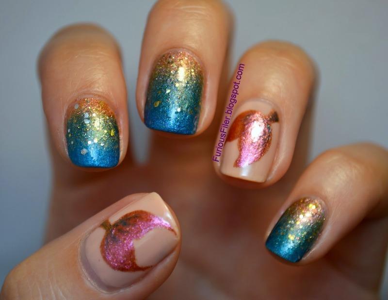 Little Mermaid nail art by Furious Filer