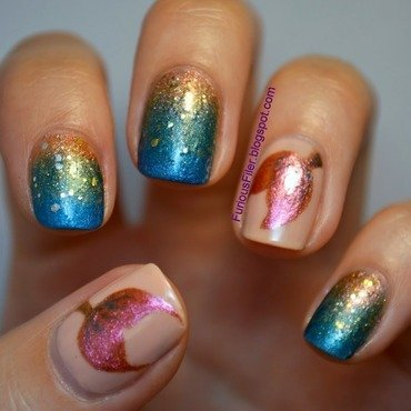 Little Mermaid nail art by Furious Filer
