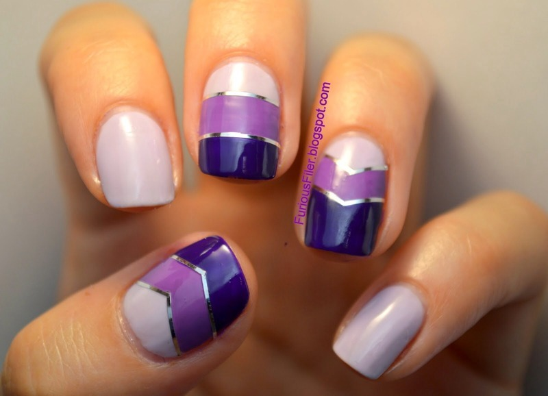 Purple chevrons nail art by Furious Filer