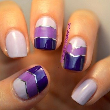 Purple chevrons nail art by Furious Filer