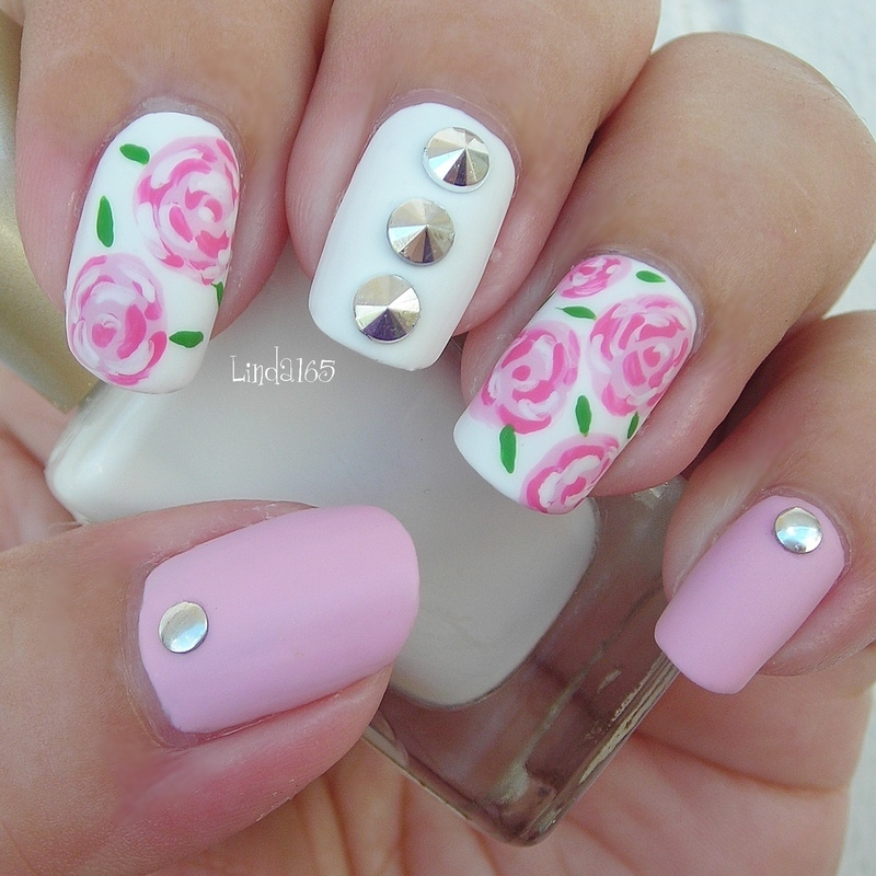 Matte Roses and Spikes nail art by Iliana S.