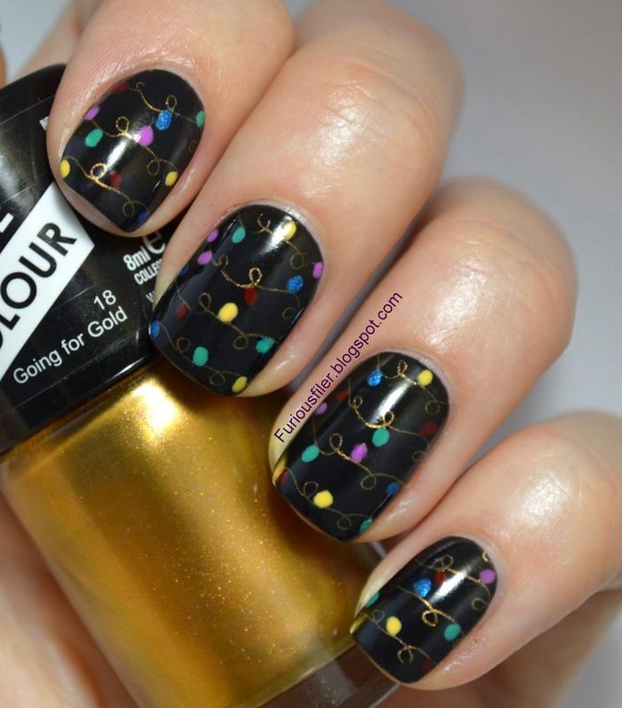 Glam Christmas nail art by Furious Filer