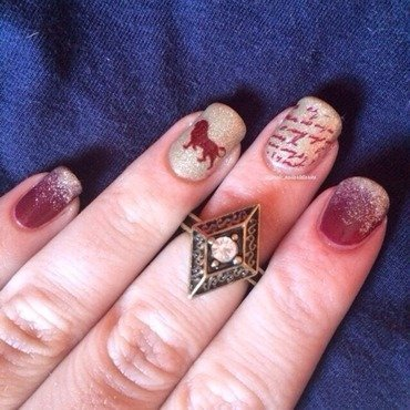Gryffindor... Where Dwell The Brave At Heart nail art by allwaspolished