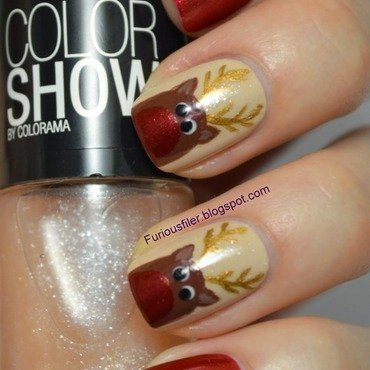 Rudolph the Red nosed Reindeer  nail art by Furious Filer