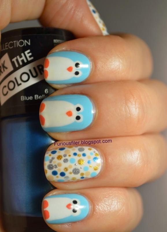 Penguins! nail art by Furious Filer
