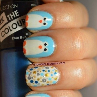 Penguins! nail art by Furious Filer