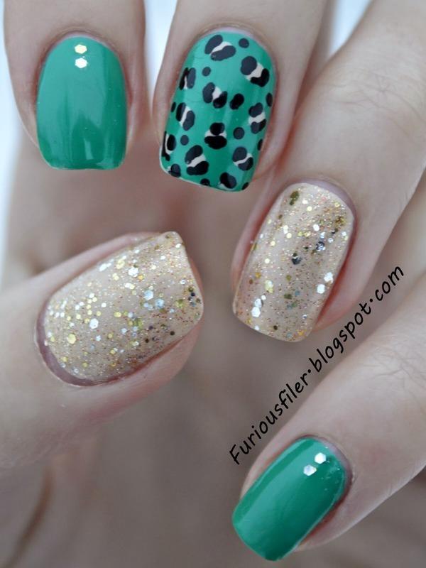 Emerald Green nail art by Furious Filer
