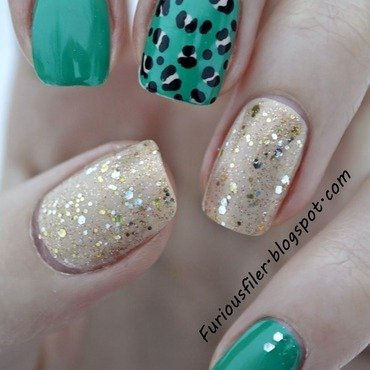 Emerald Green nail art by Furious Filer