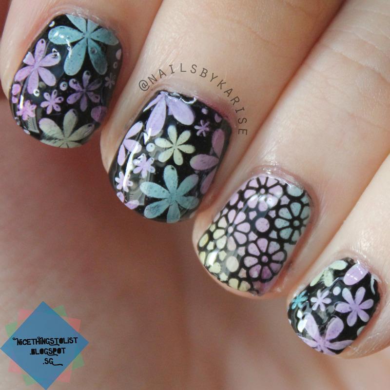 Floral stamping nail art by Karise Tan