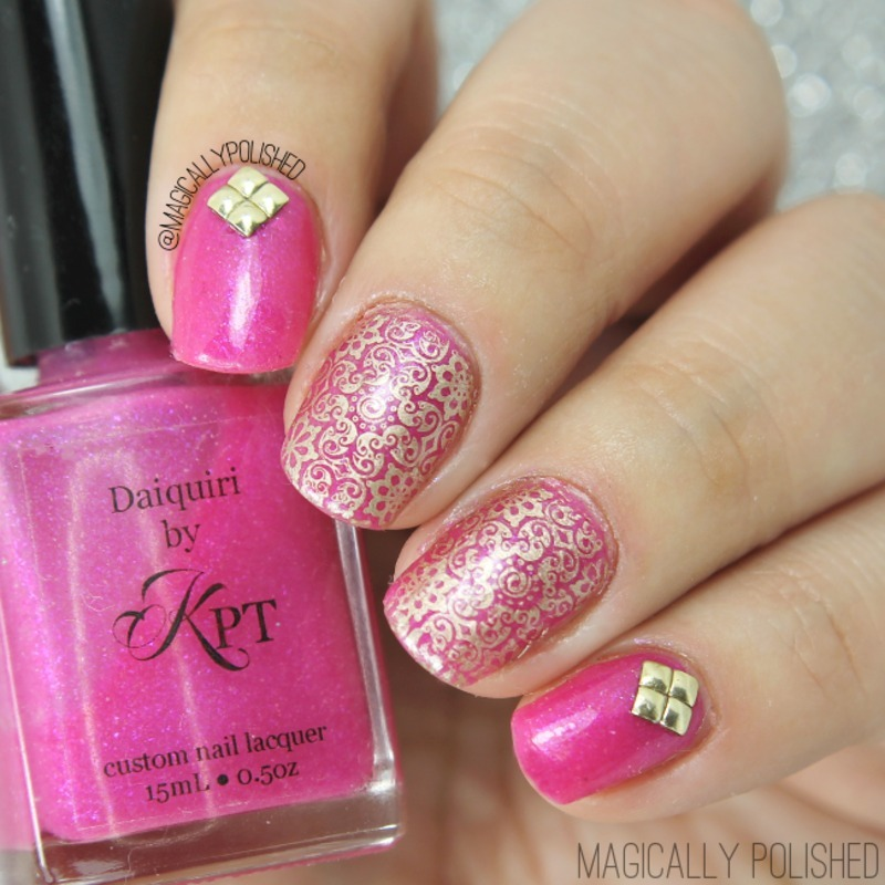 Shimmer Pink & Golden Floral Stamping Nails nail art by Born Pretty