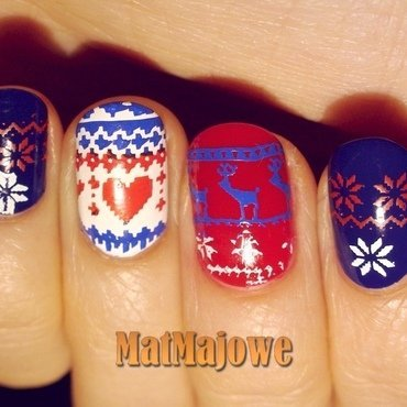 Winter sweater nail art by MatMaja