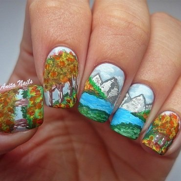 Mountains in Poland nail art by Anita