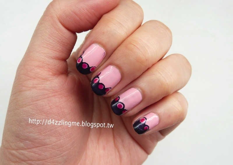 Wavy French Nails  nail art by D4zzling Me