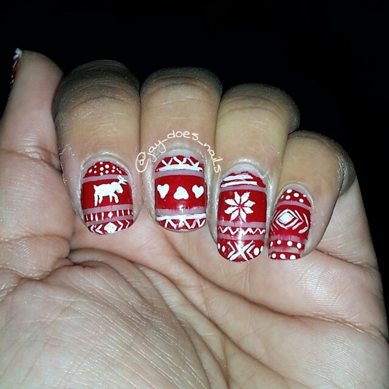 Fair Isle Nail Art nail art by Jaya Kerai - Nailpolis: Museum of ...