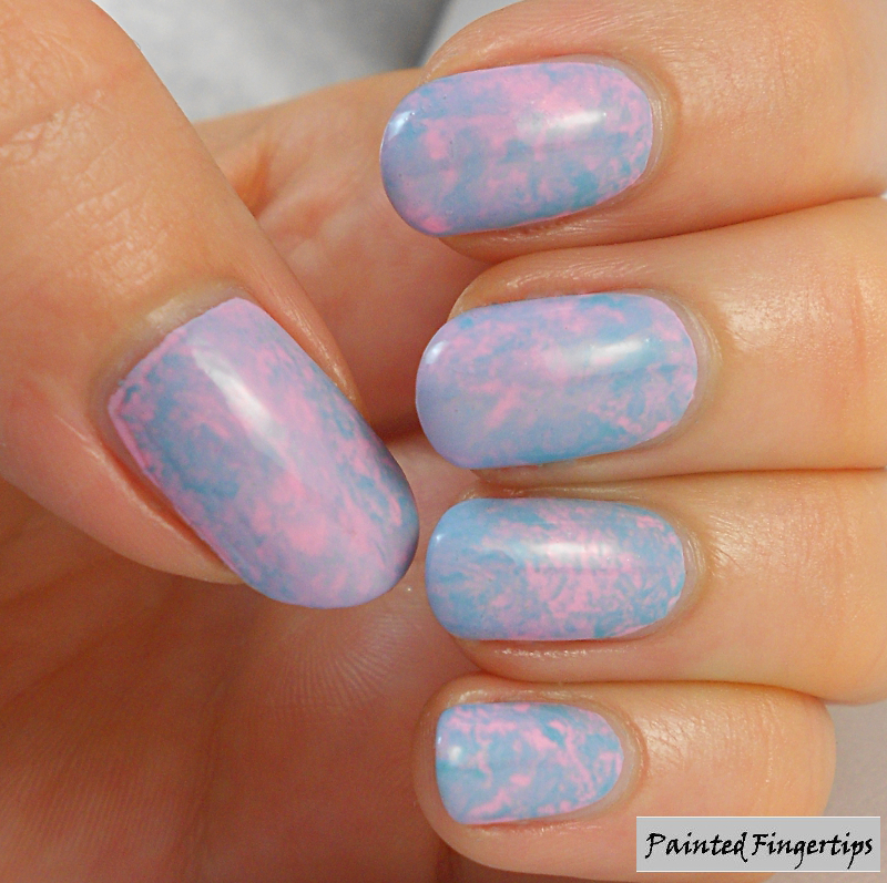 Mottled pink and turquoise nails nail art by Kerry_Fingertips