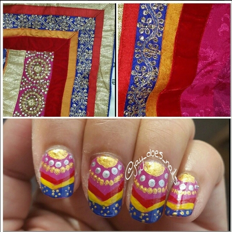 Festive Diwali Nails nail art by Jaya Kerai