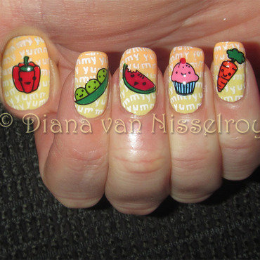 Kawaii food nail art by Diana van Nisselroy