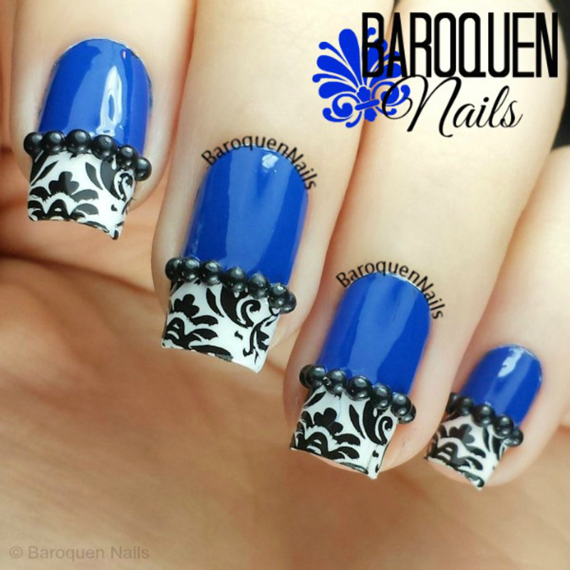 Blue Damask nail art by BaroquenNails