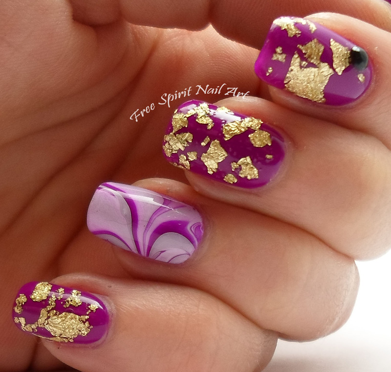 Neon Purple and Gold Flake Bling nail art by Free_Spirit_Nail_Art