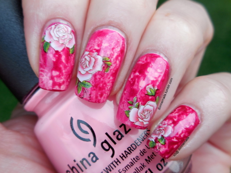 Rose Garden nail art by Donner