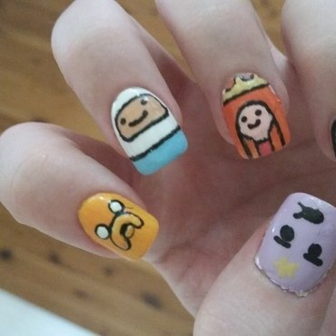 Adventure Time Characters nail art by Abby